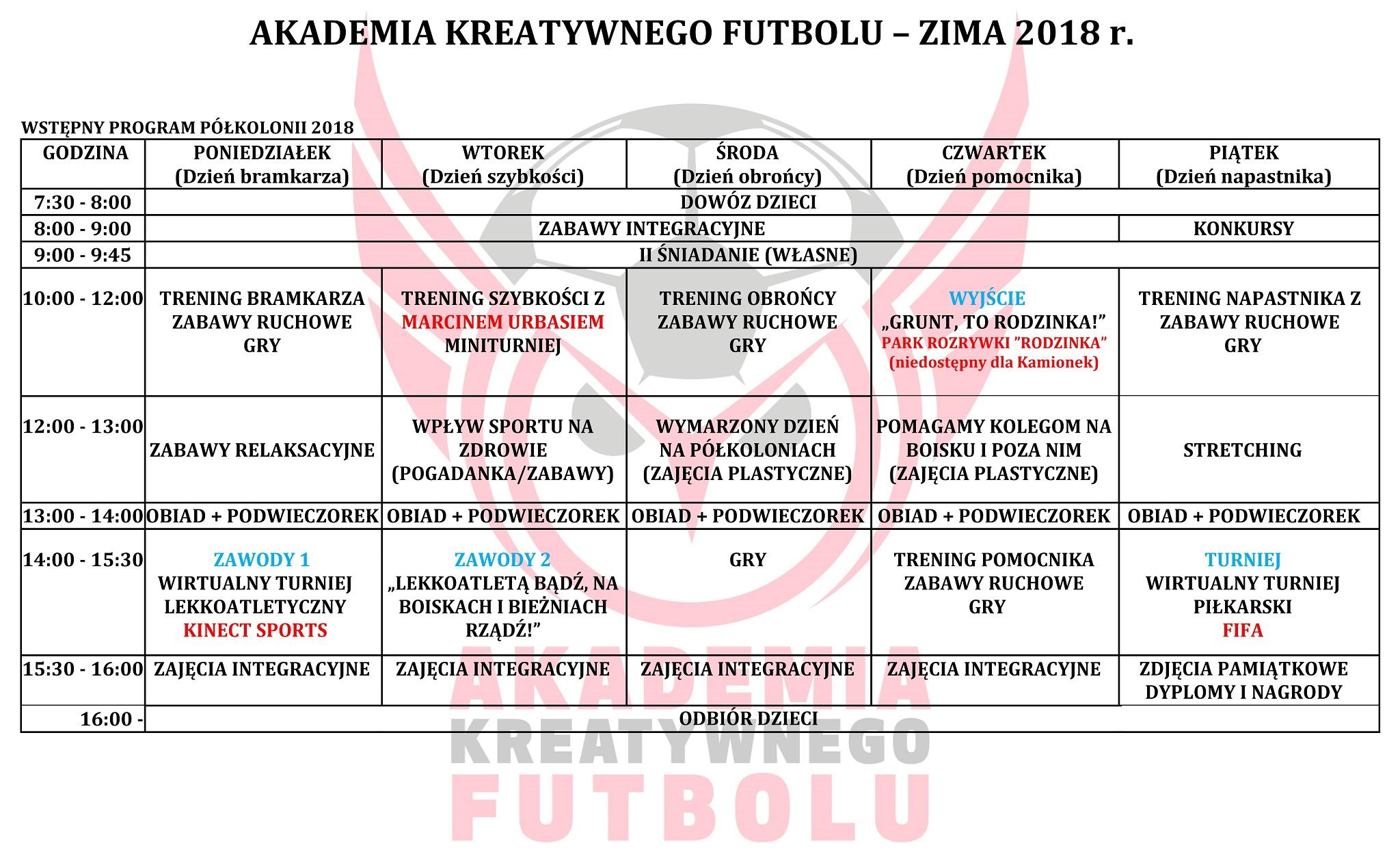 ZIMA 2018 - Program polkolonii (1 turnus)